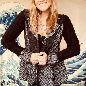 Sioni mixed pattern art cardigan sweater M